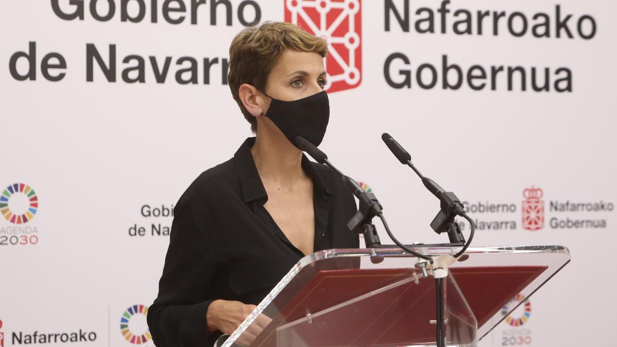 María Chivite este martes en una comparecencia en el Palacio de Navarra