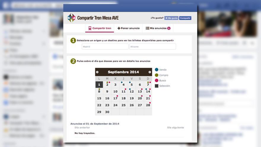 Captura de la aplicación Compartir Tren Mesa AVE