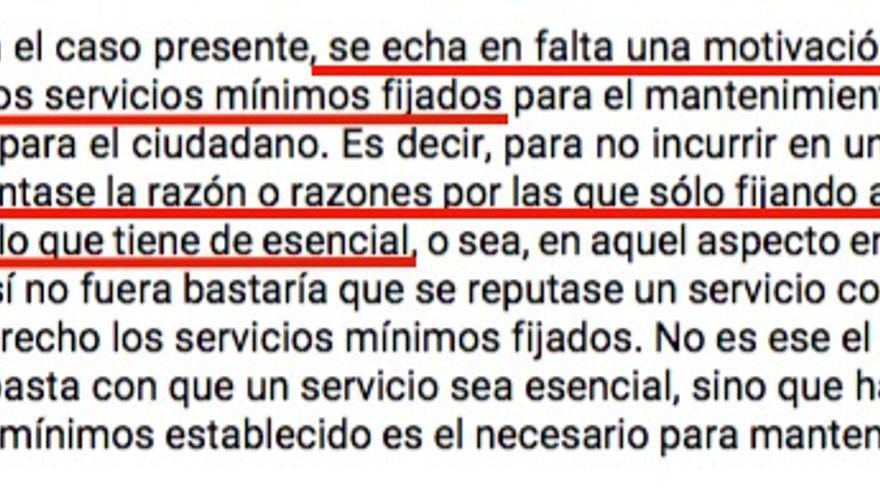 Fragmento de la nueva sentencia condenatoria de la Xunta por no justificar los servicios mínimos impuestos en la huelga del mantenimiento del hospital de Ourense