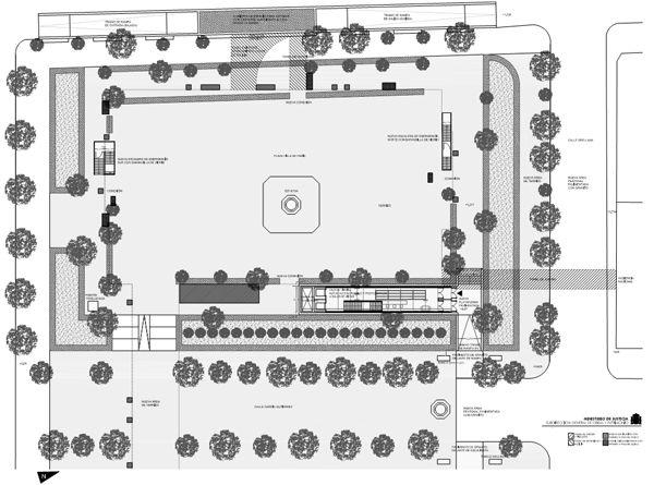 Plano detalle de la intervención en la zona Oeste de la Plaza de la Villa de París   Gráfico: Ministerio de Justicia