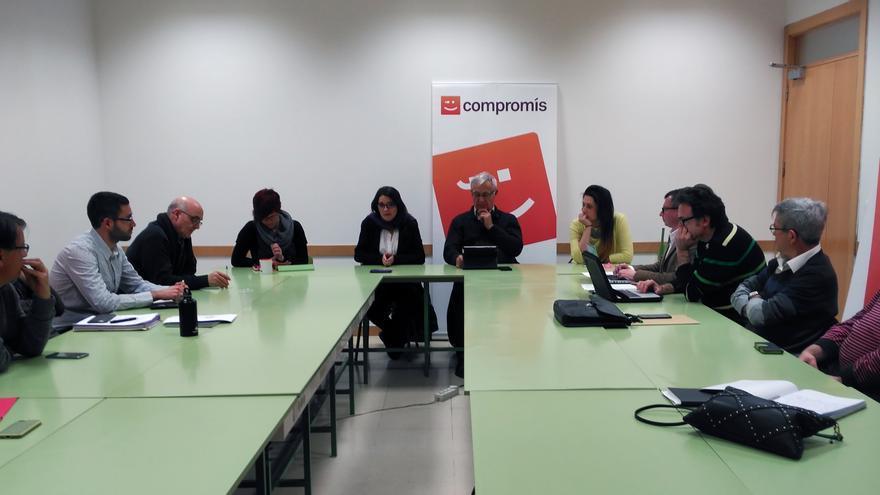 Un instante de la reunión de la ejecutiva de Compromís reunida este lunes en Valencia