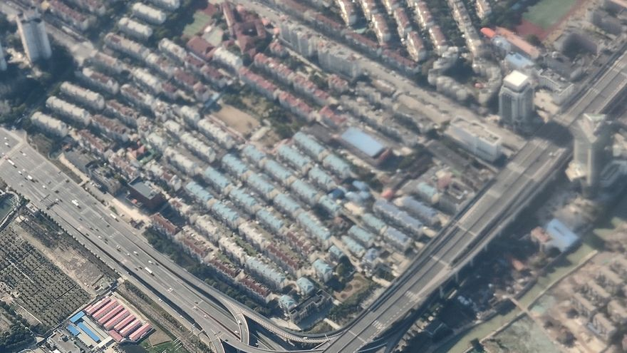 Imagen aérea de la ciudad de Shangái la semana pasada durante la cuarentena por coronavirus