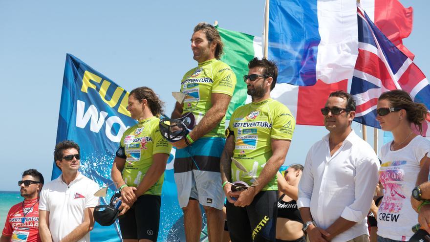 Podio de la prueba de Slalom del Campeonato del mundo de windsurf de Fuerteventura