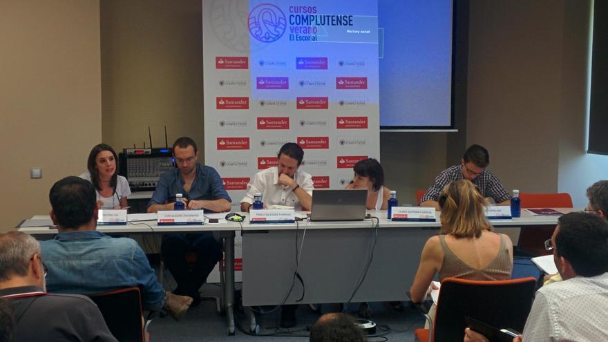 Pablo Iglesias, junto a Luis Alegre, Irene Montero, Clara Serrano e Íñigo Errejón.