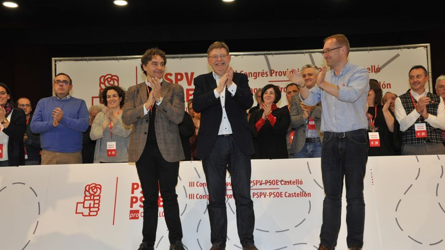 Francesc Colomer, Ximo Puig y Ernest Blanch en el congreso provincial del PSPV de Castellón