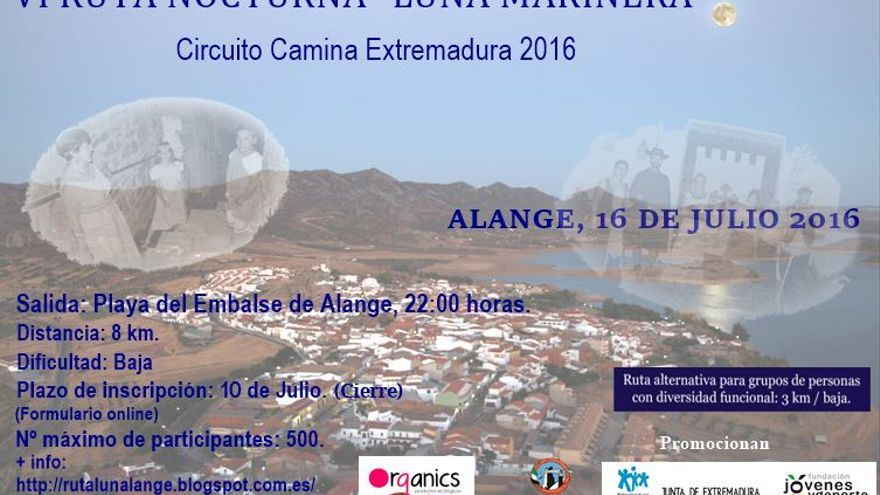 Cartel ruta nocturna Alange