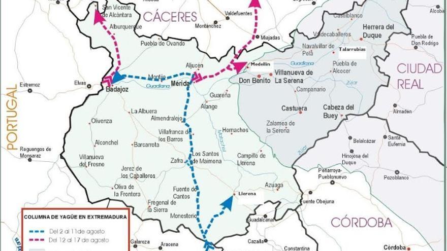 El mapa muestra el avance rápido de la columna rebelde por la provincia de Badajoz en agosto de 1936