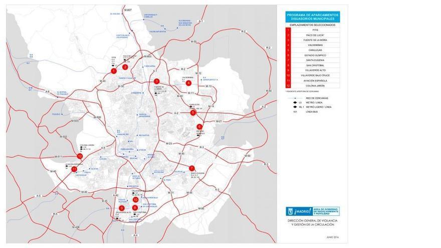 Localización de los aparcamientos disuasorios en el Plan A del Ayuntamiento de Madrid.