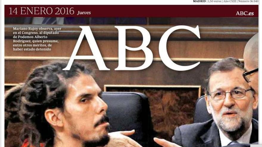 Portada de ABC del 14 de enero de 2016.