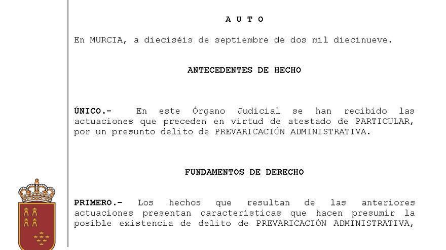 Extracto del auto emitido por el Juzgado nº 2 de Murcia por el que se abren investigaciones contra la Consejería de Educación de Murcia por presunta prevaricación