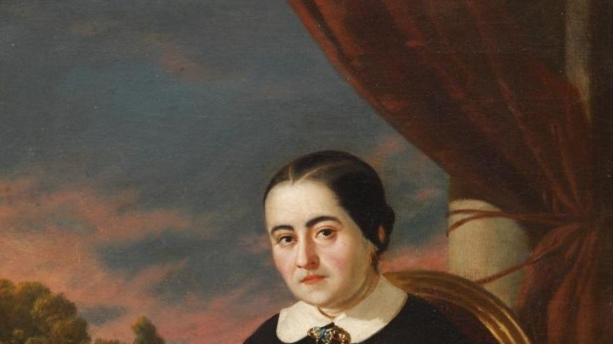 Retrato de Cecilia Böhl de Faber (Fernán Caballero) por Valeriano Domínguez Bécquer (1858)