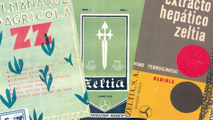 Publicaciones y productos de Zeltia. Imágenes del libro  libro 'Obella Vidal, investigador, empresario e galeguista' (Ricardo Gurriarán, Foro Enrique Peinador, 2009)