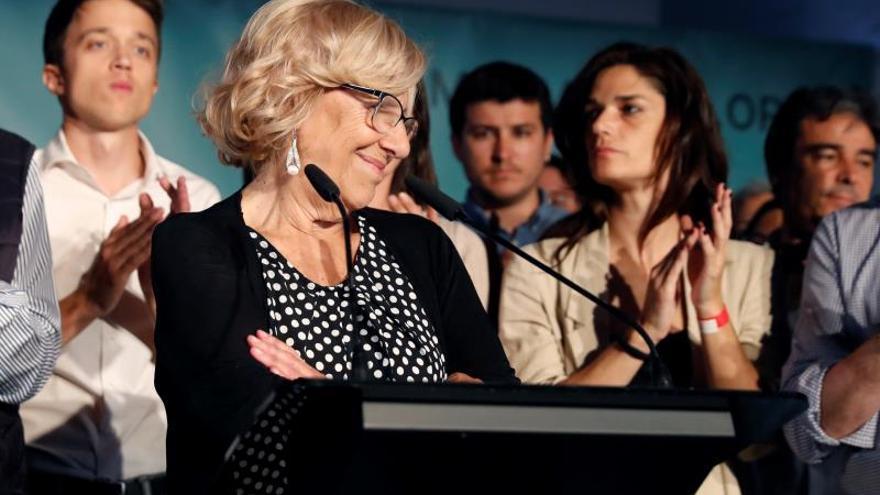 Manuela Carmena en su intervención en la noche del domingo.