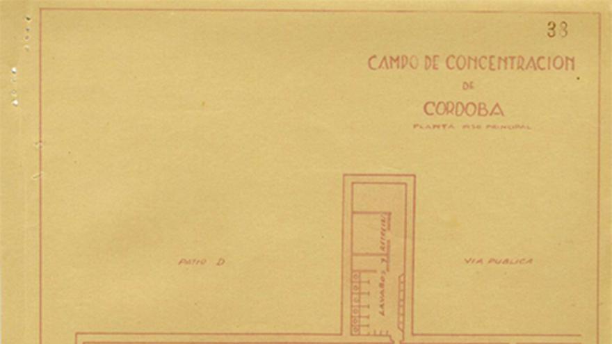 Plano del campo de concentración del Convento de San Cayetano en Córdoba.