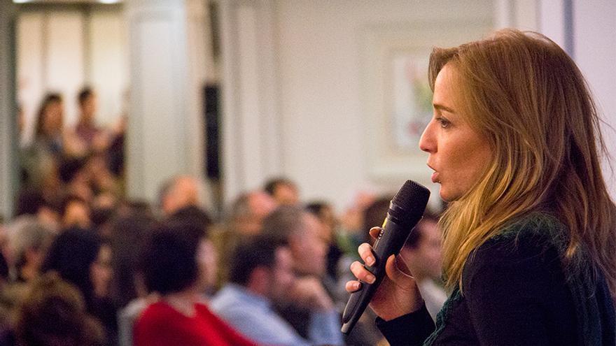 Tania Sánchez, durante la asamblea de hoy