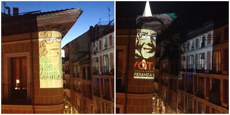 Dos de los carteles proyectados en la calle de Aguirre   VÉRTICE CURVO