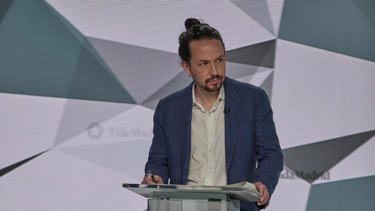 El candidato de Unidas Podemos a la Presidencia de la Comunidad de Madrid, Pablo Iglesias; minutos antes del comienzo del primer debate electoral previo a los comicios a la Asamblea de Madrid