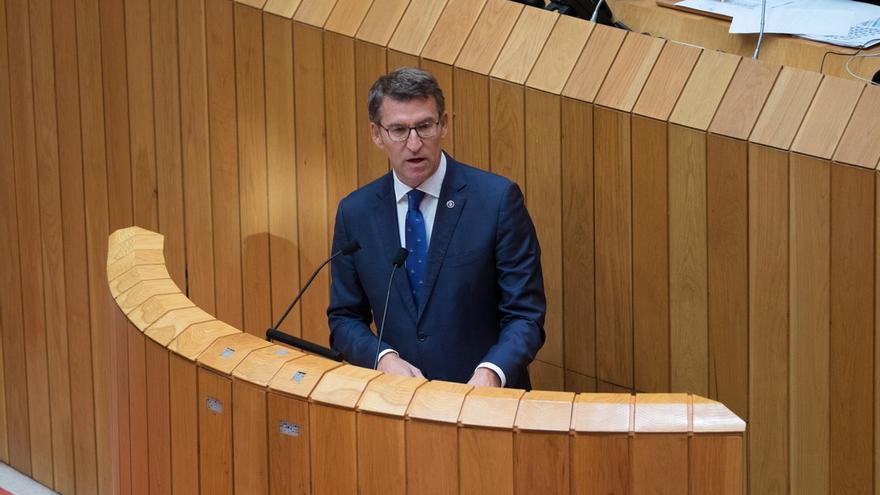 Feijóo, durante su discurso en el debate sobre política general de Galicia