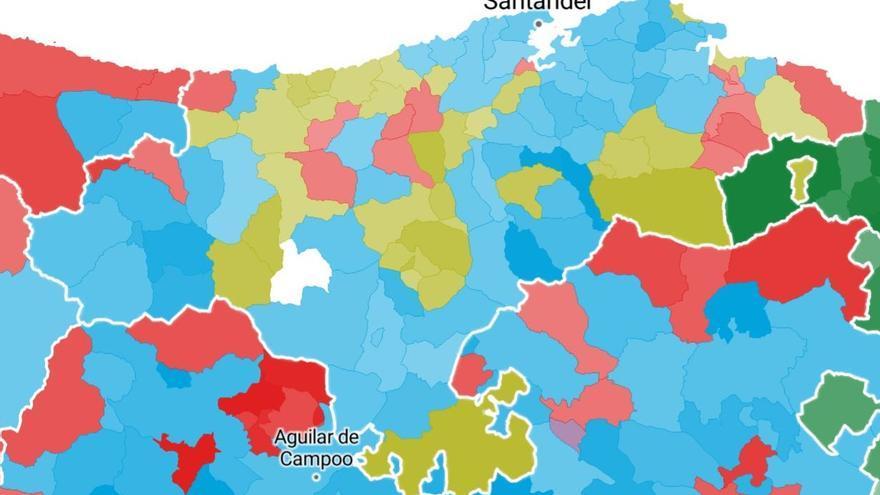 Resultados de las elecciones generales en cada municipio de Cantabria.