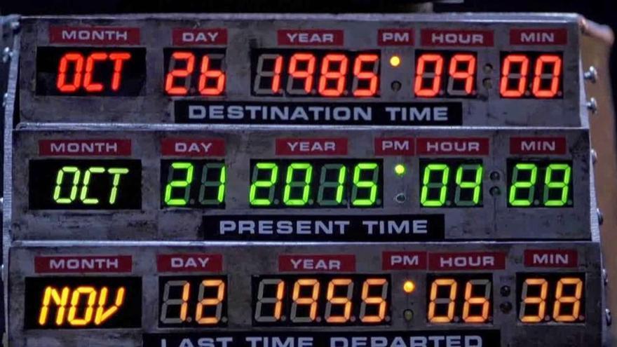 El selector de fecha del DeLorean, preparado para traer a Marty McFly a nuestros días
