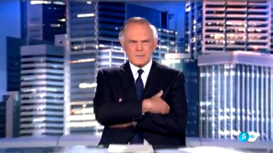 Piqueras, en la fugaz imagen en Informativos Telecinco