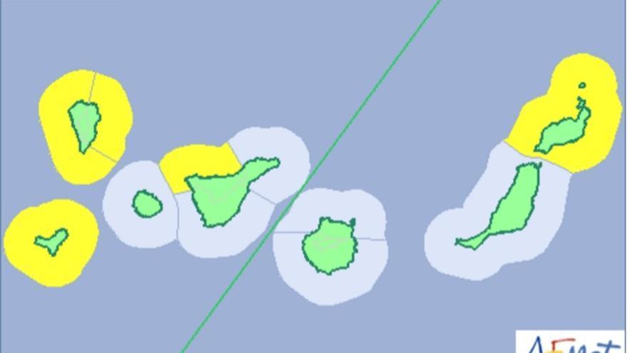 Mapa de la Aemet del aviso de riesgo amarillo por fenómeno costero para este martes, 28 de febrero.