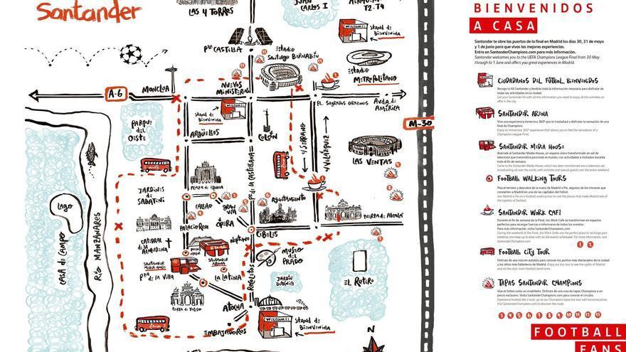 Mapa repartido por los voluntarios del Banco Santander con motivo de la final de la Champions.