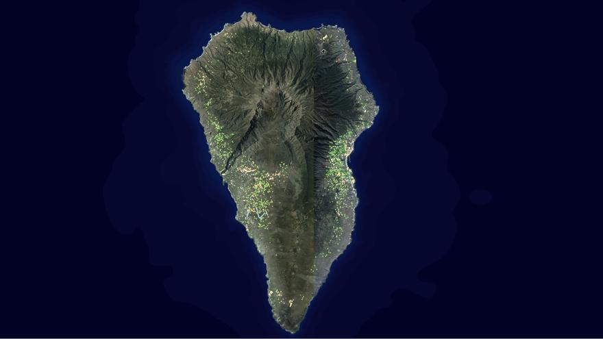 Mapa de palmeras canarias en La Palma. Imagen captada del  del visor de Infraestructura de Datos Espaciales de Canarias (IDECanarias).