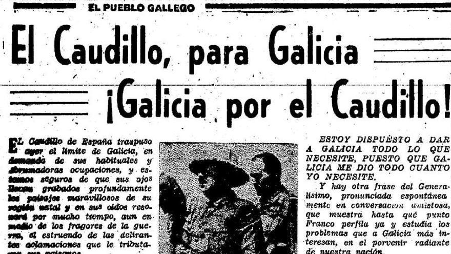 Recorte de prensa sobre la visita de Franco en 1938 para recibir oficialmente el Pazo de Meirás