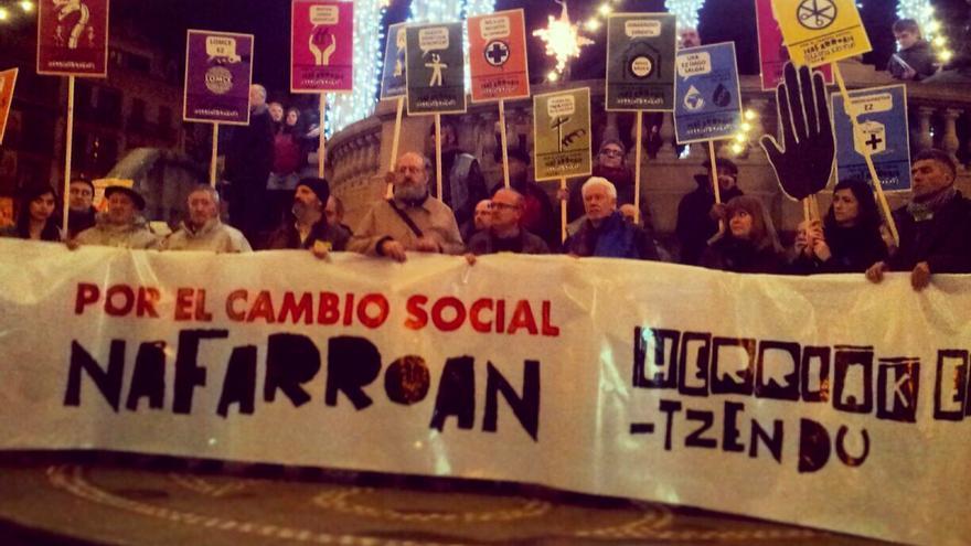Una imagen de la manifestación cedida por Médicos del Mundo Navarra.
