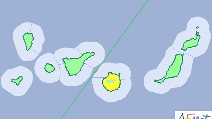 Alerta amarilla en gran Canaria (Aemet).