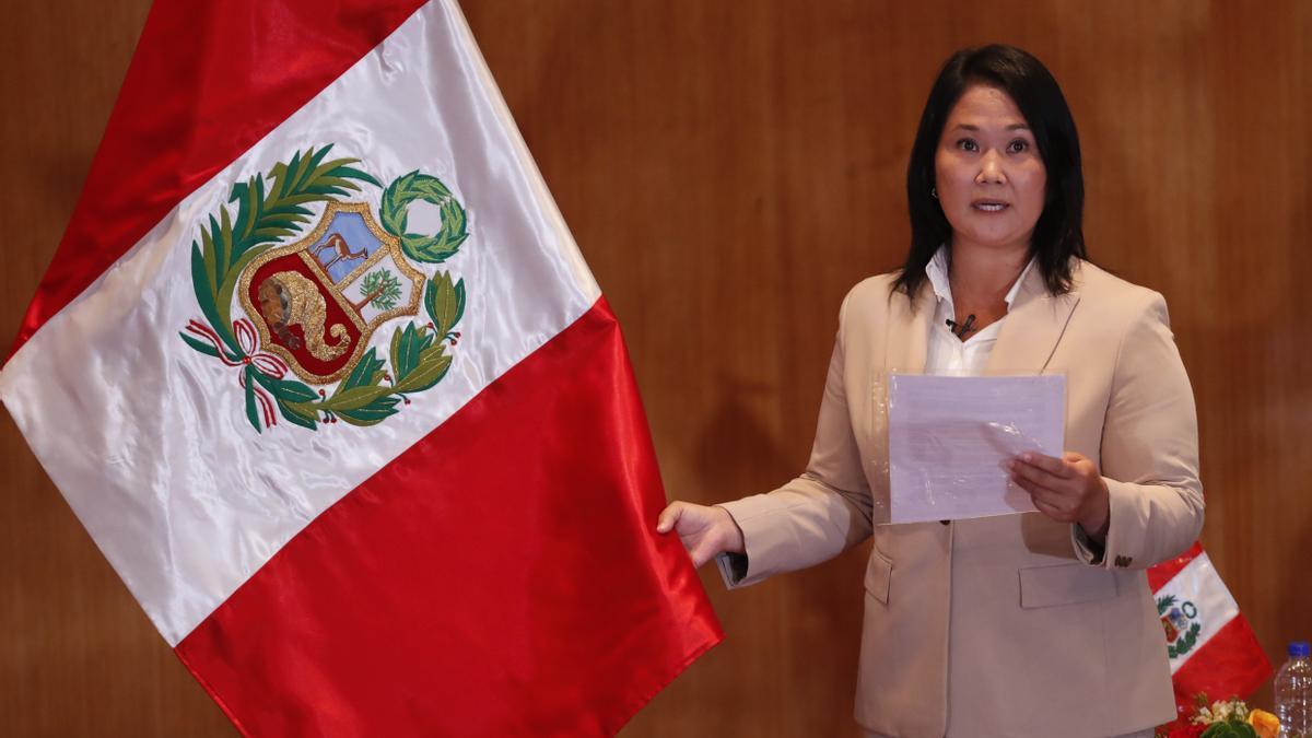 En la imagen, la candidata presidencial peruana Keiko Fujimori, del partido Fuerza Popular.