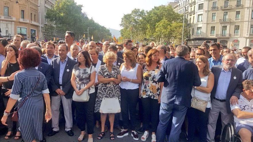 Primera línea de autoridades en la manifestación del sábado en Barcelona.