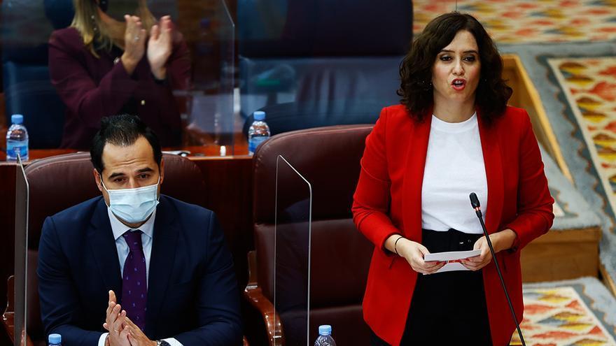Isabel Díaz Ayuso junto a Ignacio Aguado en la Asamblea de la Comunidad de Madrid