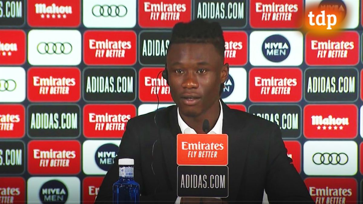 Imagen de Camavinga durante su presentación como jugador del Real Madrid