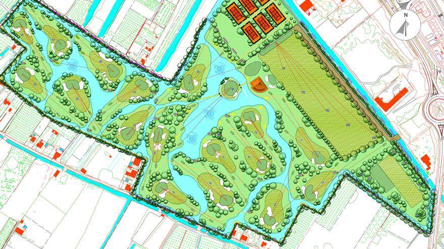 Proyecto del campo de golf proyectado junto a la marjal de Gandia.