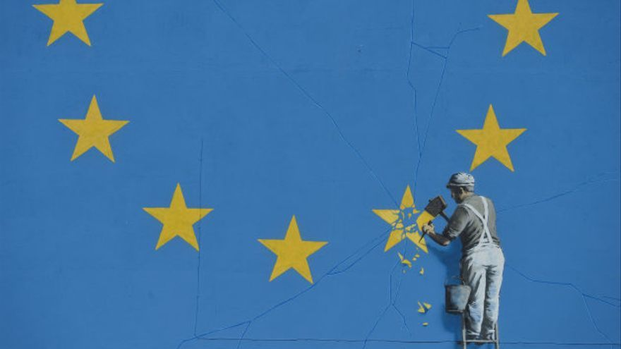 Pintura de Banksy sobre la Unión Europea.