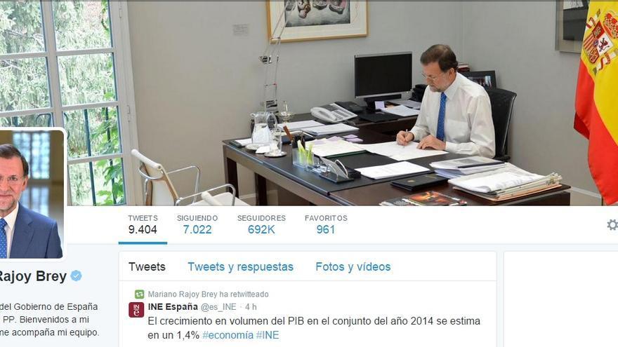 El perfil de Twitter de Mariano Rajoy (Foto: Twitter)
