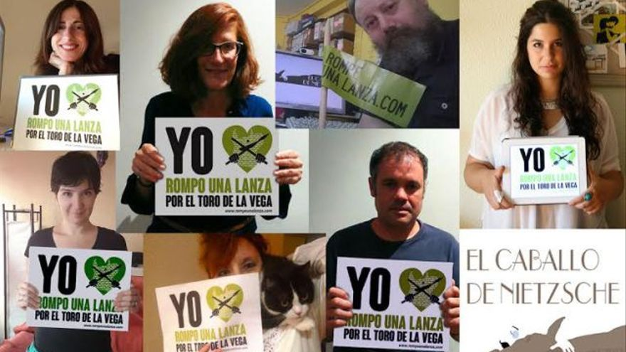 El equipo de `El caballo de Nietzsche´ respaldando la campaña de Pacma contra el torneo del Toro de la Vega
