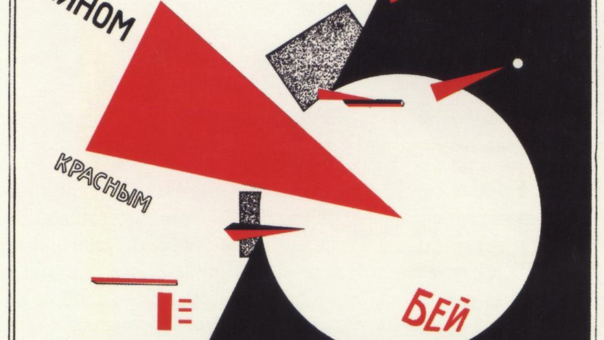 Foto de stock - Beat the Whites with the red wedge (Poster). Lissitzky, El (1890-1941). Colour lithograph. Russian avant-garde. 1920. Russian State Library, Moscow . Poster.