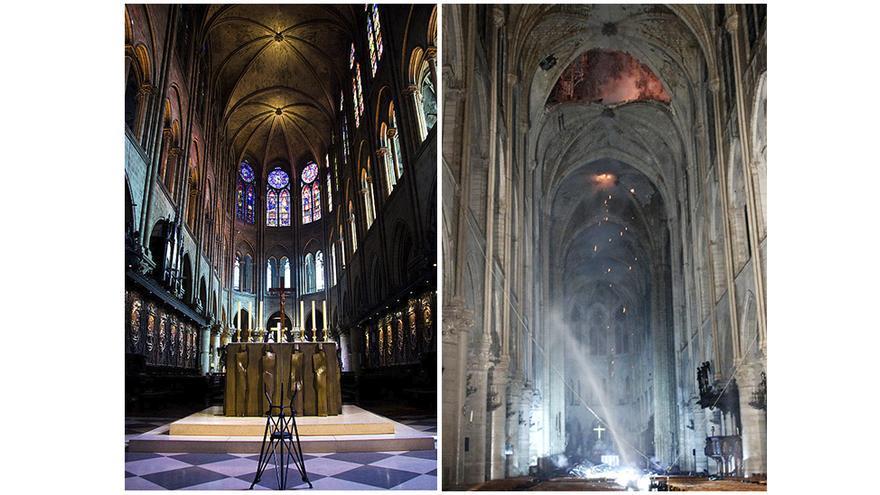 Imágenes del antes y después del altar de la catedral de Notre-Dame, tras el incendio de este lunes