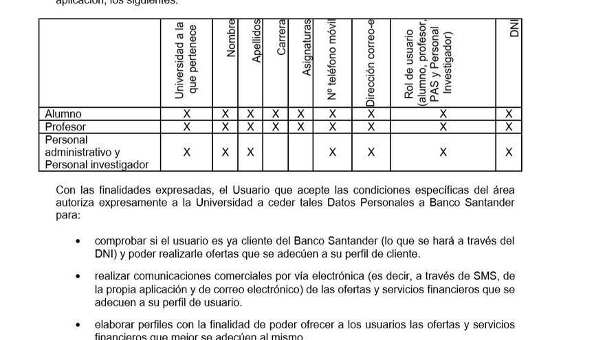 Extracto de la adenda firmada entre el Santander y las universidades españolas que contempla la cesión de datos