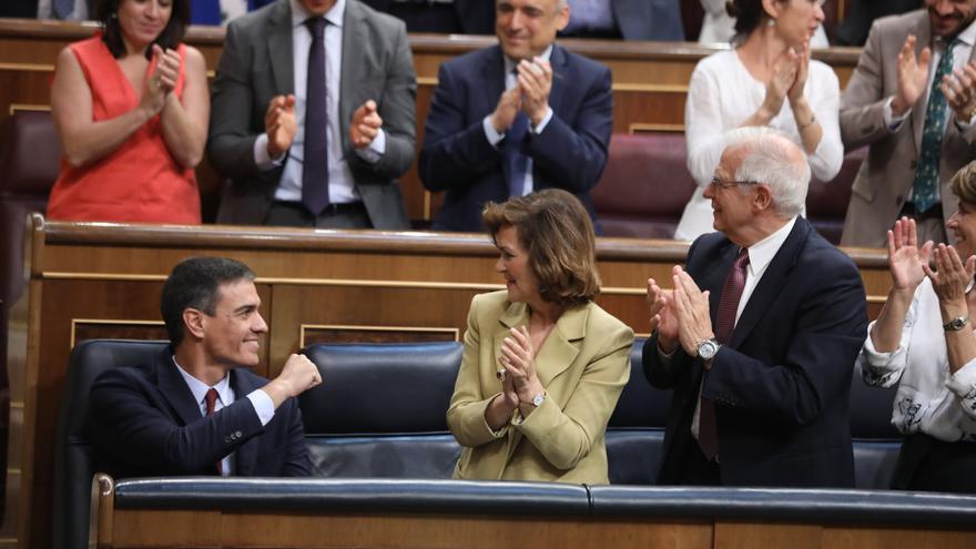 Pedro Sánchez tras su primera intervención en el debate de investidura