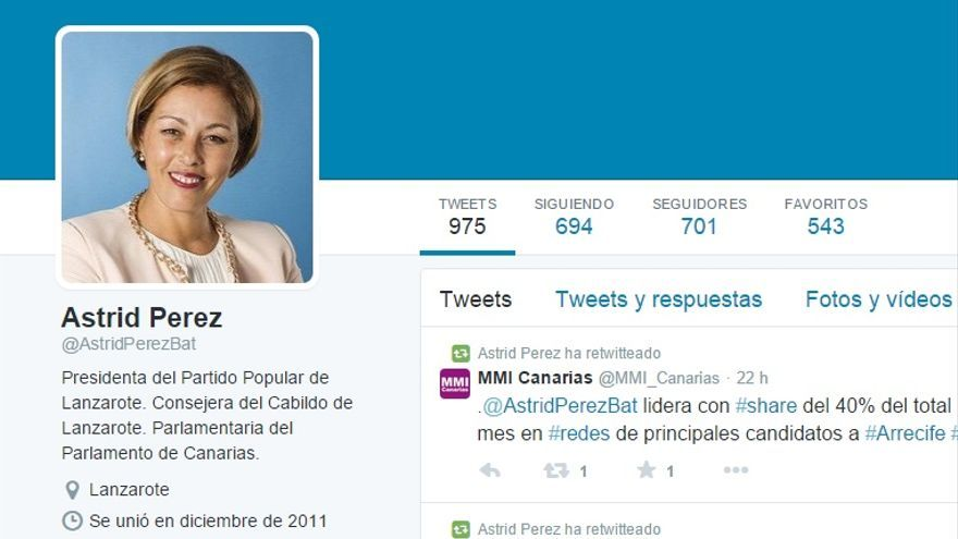 Pantallazo de la cuenta de Twitter de Astrid Pérez