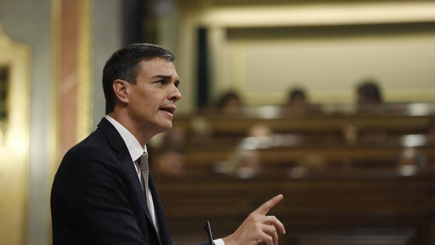 Pedro Sánchez, durante una de sus intervenciones en el debate de moción.