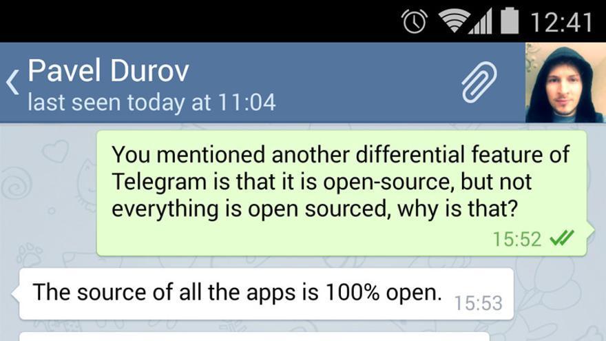 Fragmento de la entrevista con Pavel Durov hecha en Telegram