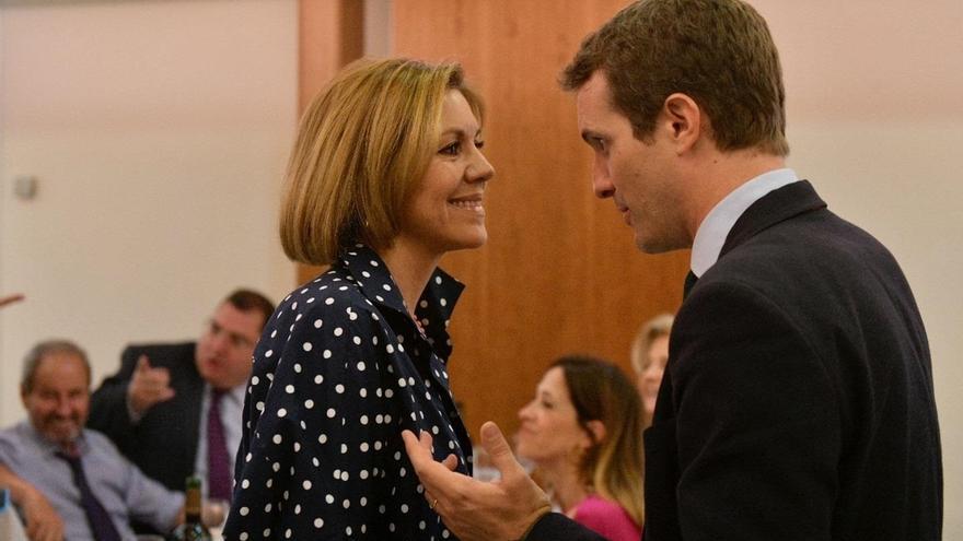 """Cospedal arropa a Casado en público y dice que puede ser un """"magnífica opción"""" para dirigir el PP"""