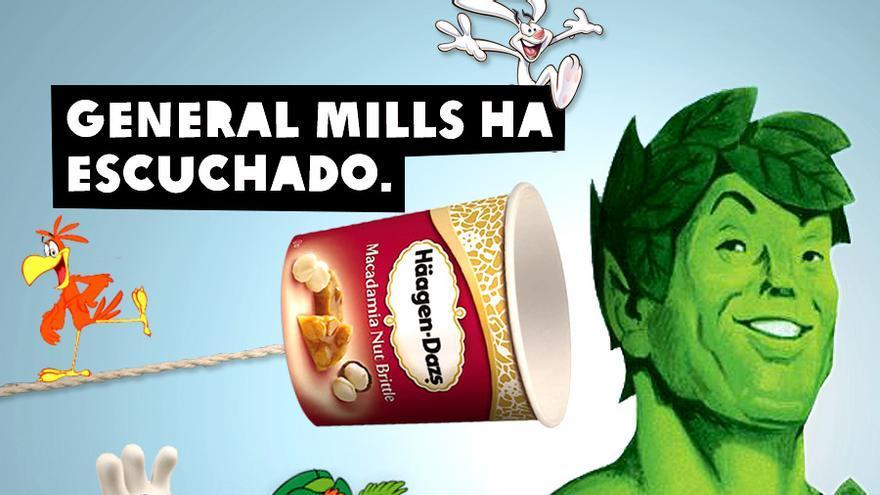 Infografía del triunfo de la campaña Tras la Marca sobre General Mills/Oxfam