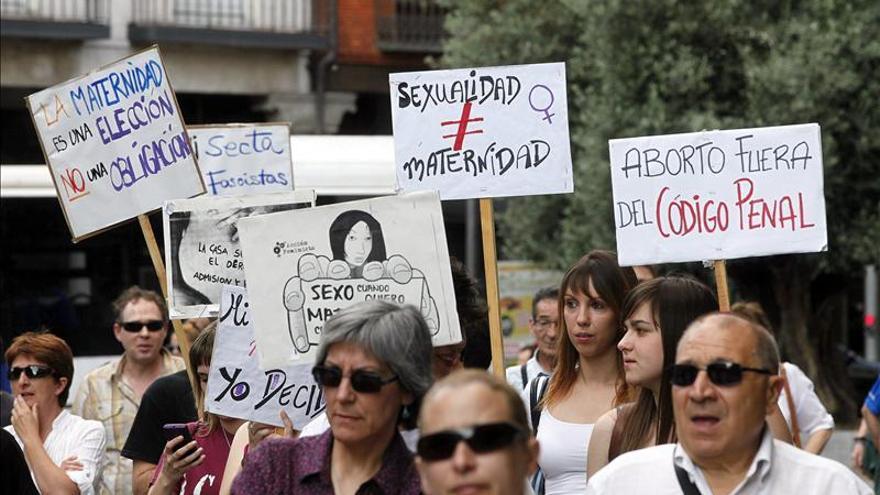Manifestación contra la propuesta del PP de reformar la ley del aborto.