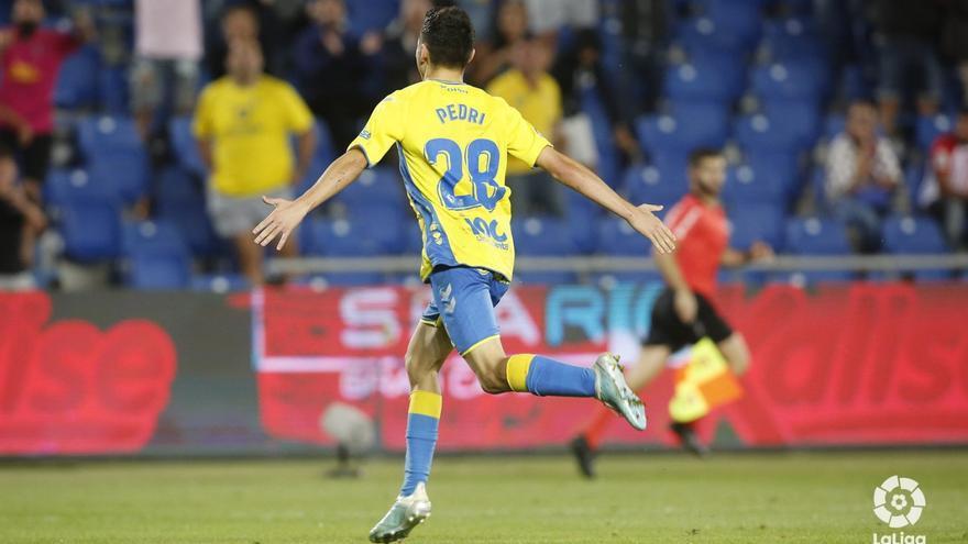 Pedri, celebrando su gol de este jueves para el triunfo de Las Palmas.